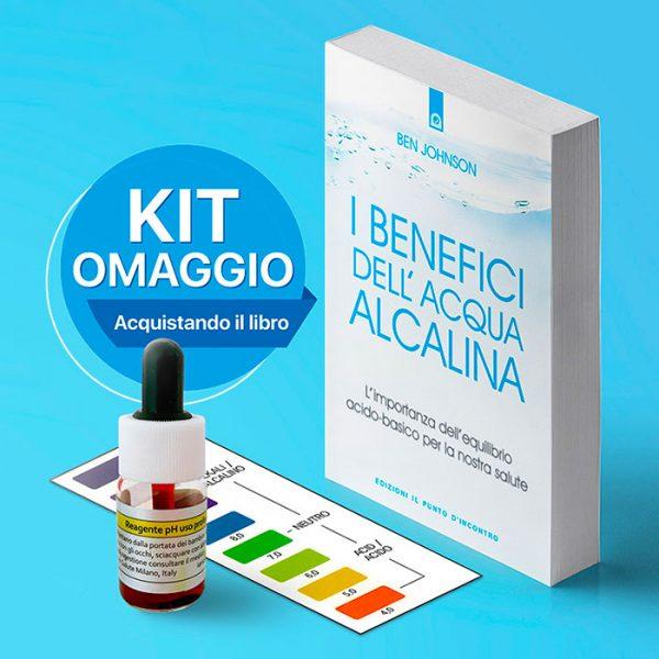 I benefici dell'acqua alcalina, libro di Ben Johnson + KIT reagente in omaggio