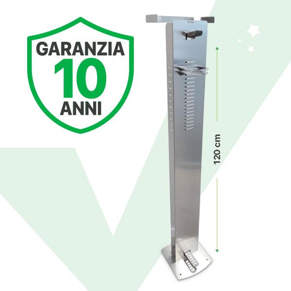 Colonnina per igienizzanti gel o spray in acciaio inox ad azionamento a pedale. Garanzia 10 anni.